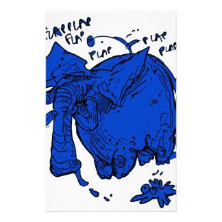 flying elephant blue stationery
