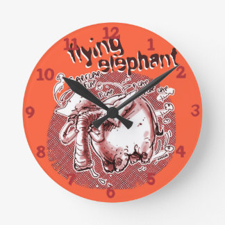 flying elephant cartoon style illustration round clock