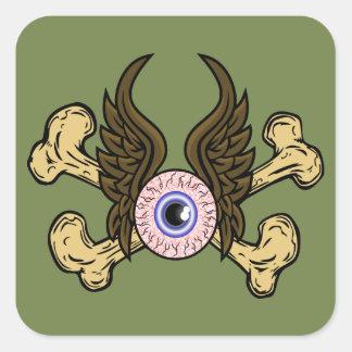 Flying Eye Bones Square Sticker