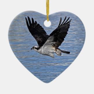 Flying Fish Eagle Osprey Nature Photograph Ceramic Heart Decoration