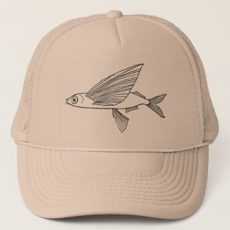 Flying fish (exocet) pencil drawing retro style trucker hat