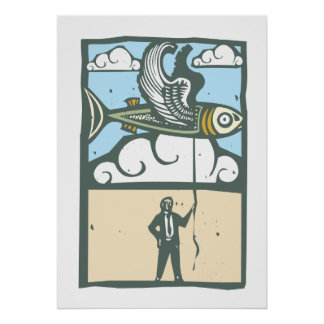 Flying Fish on string Poster
