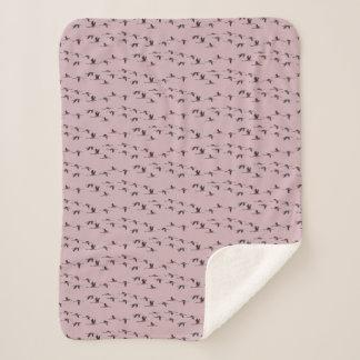 Flying Flamingos Sherpa Blanket (Dusty Pink)