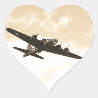 Flying Fortress In Flight Heart Sticker