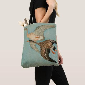 flying geese, japanese art tote bag