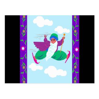 flying genie postcard