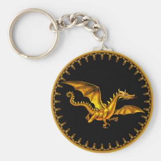 flying gold dragon on black key ring