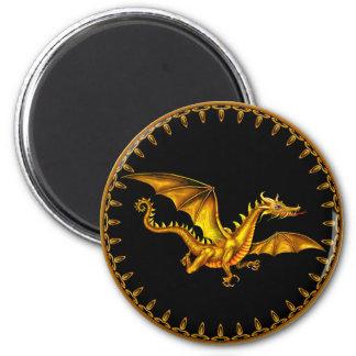flying gold dragon on black magnet