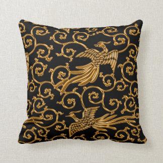 Flying golden birds arabesque throw pillow