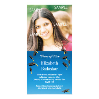 Flying Graduation Caps Personalized Photo Card
