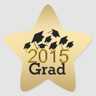 Flying Graduation Hats Gold 2015 Stickers