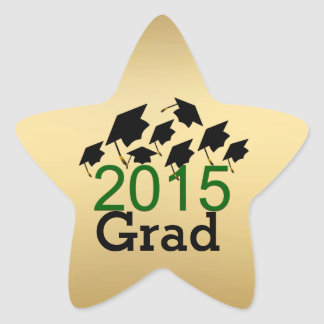 Flying Graduation Hats Gold, Green 2015 Stickers