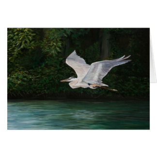 """Flying Great Blue Heron"" Bird Art Greeting Card"
