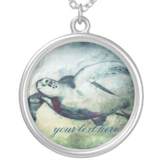 Flying Green Sea Turtle   Necklace
