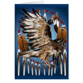 Flying Hawk Dreamcatcher Card