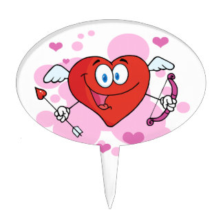 Flying Heart with Bow and Arrow Cake Topper