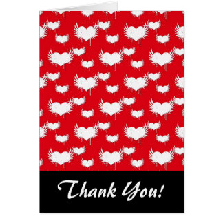 Flying Hearts Red and White Valentine's Pattern Note Card