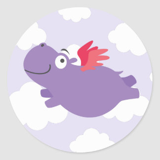 Flying Hippo Illustration Classic Round Sticker