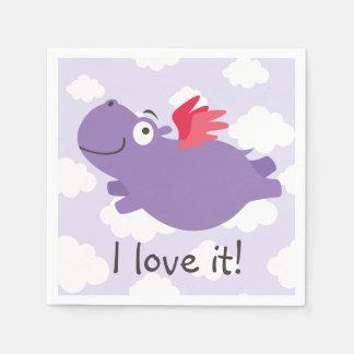 Flying Hippo Illustration Disposable Napkins