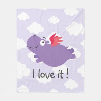 Flying Hippo Illustration Fleece Blanket