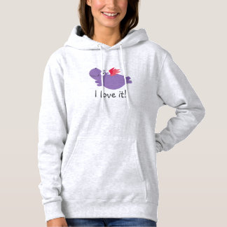 Flying Hippo Illustration Hoodie
