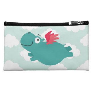 Flying Hippo Illustration Makeup Bag