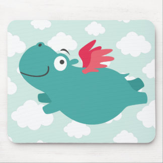 Flying Hippo Illustration Mouse Pad