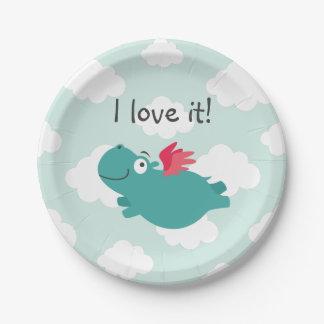 Flying Hippo Illustration Paper Plate