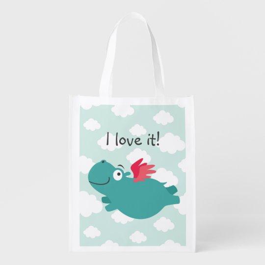 Flying Hippo Illustration Reusable Grocery Bag