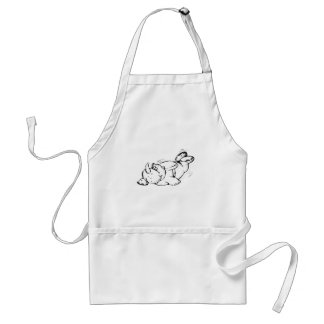 Flying Hippo with Parachute Cartoon Apron