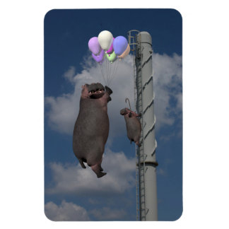 Flying Hippopotamus Rectangular Photo Magnet