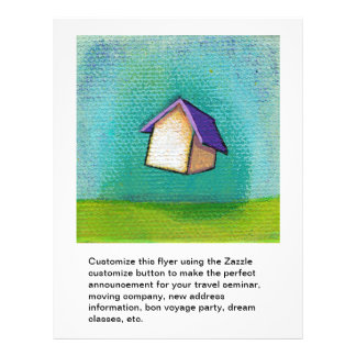 Flying house traveling home fun colorful happy art 21.5 cm x 28 cm flyer