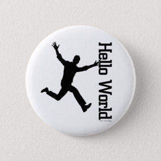 Flying Human Figure Profile Black/White Graphic Ar 6 Cm Round Badge