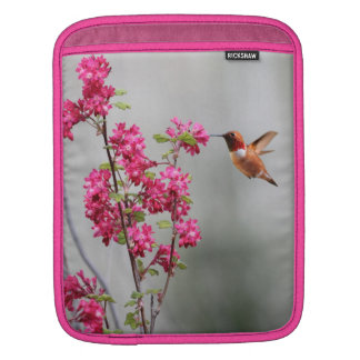 Flying Hummingbird and Flowers iPad Sleeve