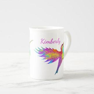 Flying Hummingbird Custom Name Bone China Mug