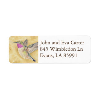 Flying Hummingbird return address label
