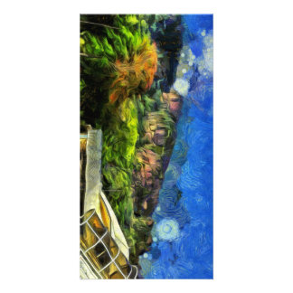 Flying into paradise picture card