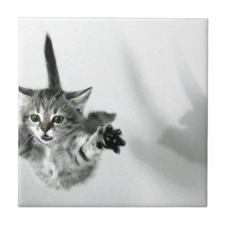 Flying kitten small square tile
