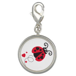 Flying ladybug heart red black white charm