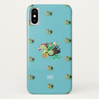 """Flying Leprechauns"" St Patrick's  (pale pink) iPhone X Case"
