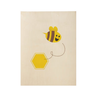 Flying little cute bee on Wood poster