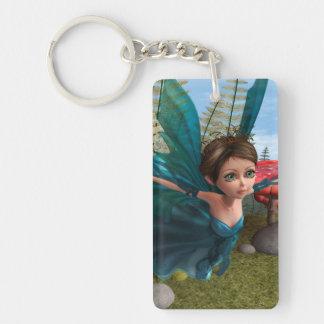 Flying Little Fairy Butterfly Single-Sided Rectangular Acrylic Key Ring