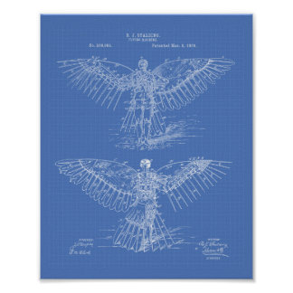 Flying machine 1889 Patent Art - Blueprint Poster