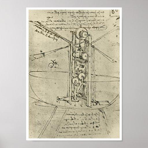 Flying Machine, Leonardo da Vinci, 1488 Print