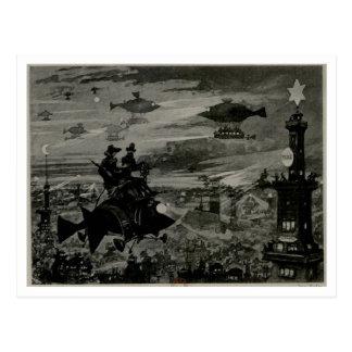 Flying Machine Over Paris Postcard