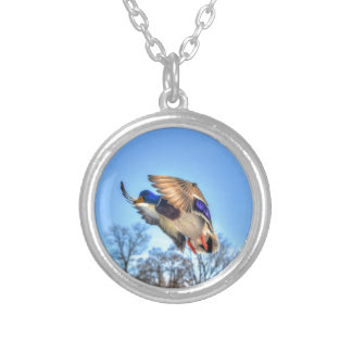 Flying Mallard Duck Drake Wildlife Photo Silver Plated Necklace