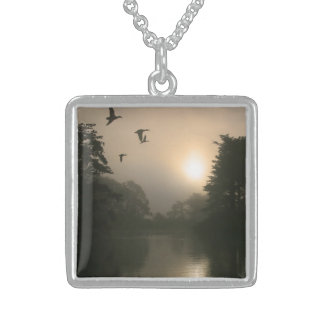 Flying Mallards and Morning Fog Sterling Silver Necklace
