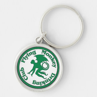 Flying Monkey Drinking Club Silver-Colored Round Key Ring