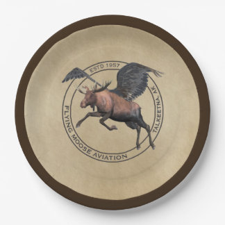 Flying Moose Aviation Logo Paper Plate