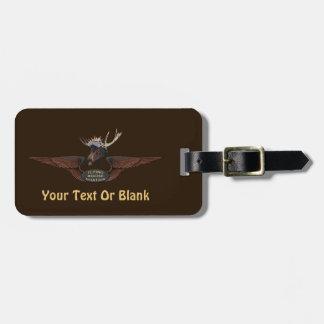 Flying Moose Bush Pilot Wings Luggage Tag